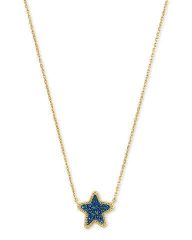 Jae Star Pendant Gold/ Blue Drusy