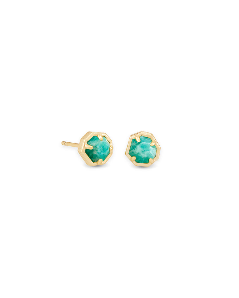 Kendra Scott: Nola Stud Gold/Teal Amazonite