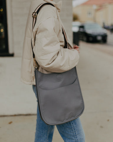 Grey Classic Ahdorned Messenger Bag