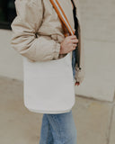 White Classic Ahdorned Messenger Bag