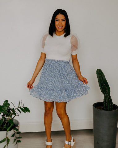 Misty Blue Floral Skirt