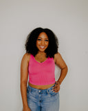 NikiBiki: Ribbed Crop Tank in Vintage Hot Pink