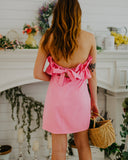 Ruffle Top Dress in Hot Pink