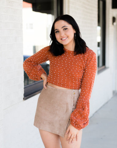 Pom Pom Sweater in Rust