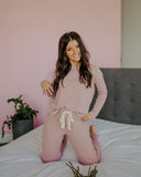 Rib Knit Lounge Set in Ash Rose