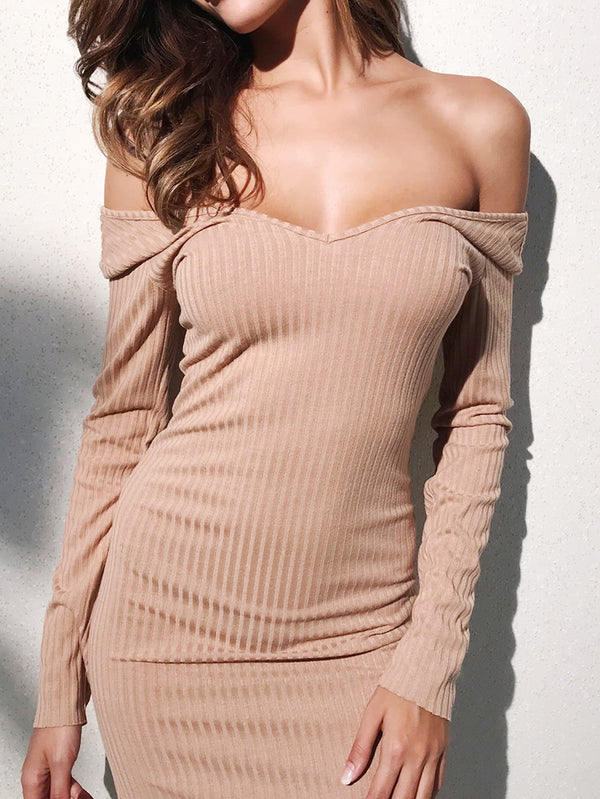 Off Shoulder Ribbed Dress - O-ll-M
