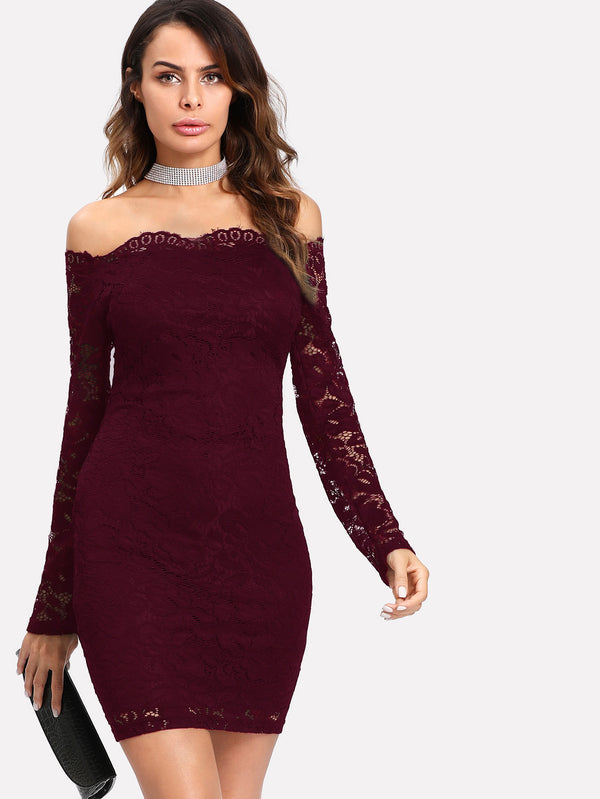 Floral Lace Overlay Bardot Bodycon Dress - O-ll-M