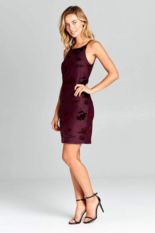 CRUSHED VELVET RACER BACK MINI DRESS - O-ll-M