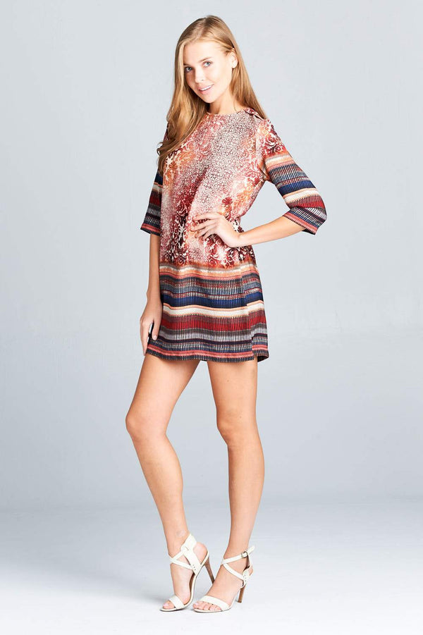 BOHO PRINT DRESS WITH BACK ZIPPER - O-ll-M