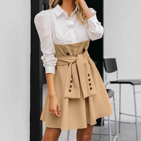 Patchwork Puff Sleeve Shirt Dress Elegant Button - O-ll-M