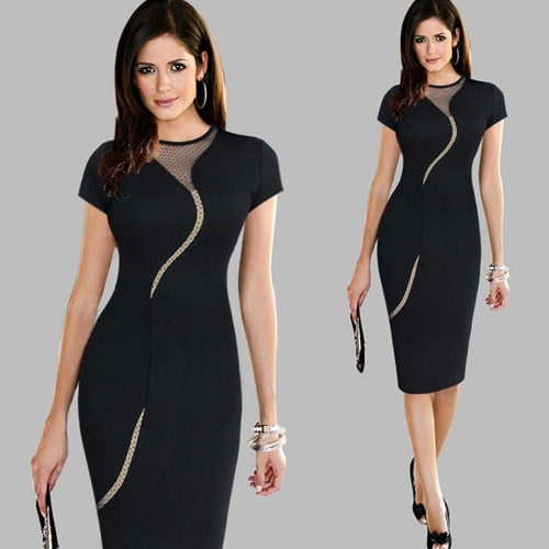 Women Vintage Wear to Work Elegant Knee Length vestidos Business Party Bodycon Sheath Office Ruffle Ladies Black Mesh Dress Suit