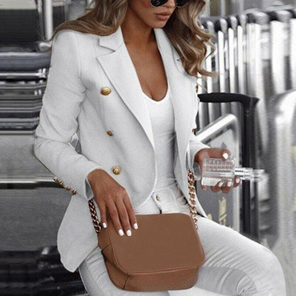 S-5XL Plus Size Women Long Sleeve Button Blazer Office Jacket Coat Outerwear Autumn Winter Warm Tops Blazers Suit Casual Clothes