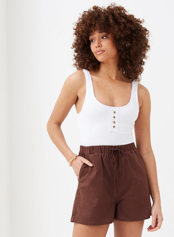 Alessia Linen Short Chocolate
