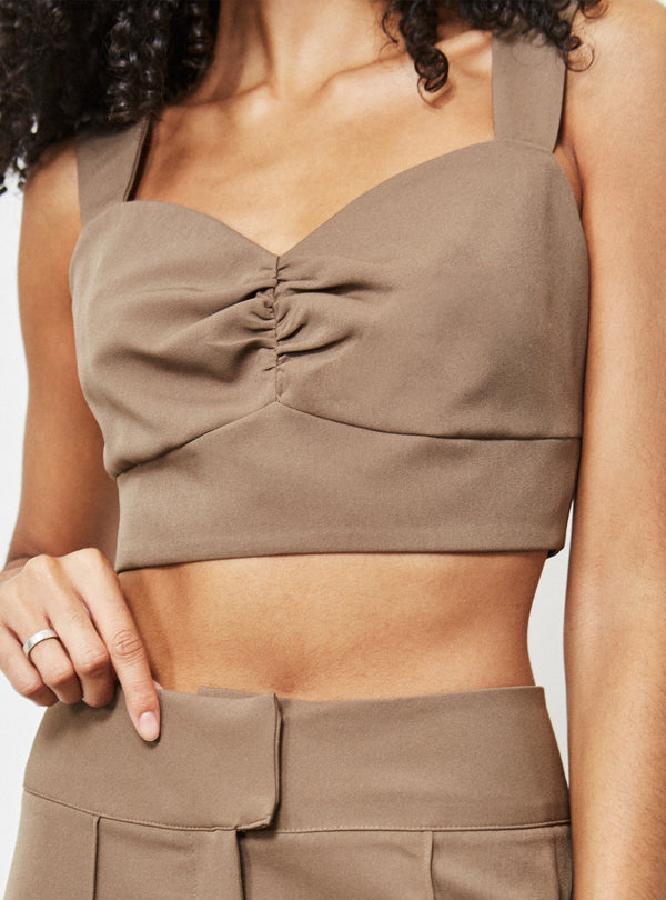 Apollo Ruched Front Crop Top Mole