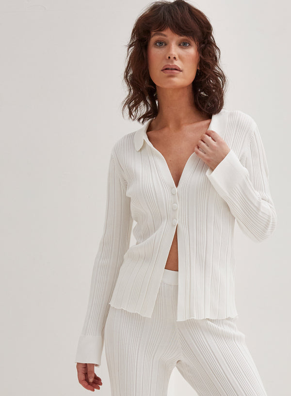 Aspen Button Front Top White
