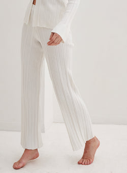 Aspen Knitted Wide Leg Pants White