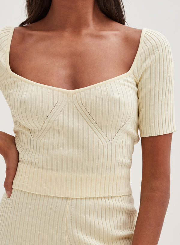 Aubrey Knitted Crop Top Cream