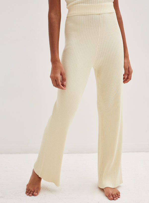 Aubrey Knitted Wide Leg Pants Cream