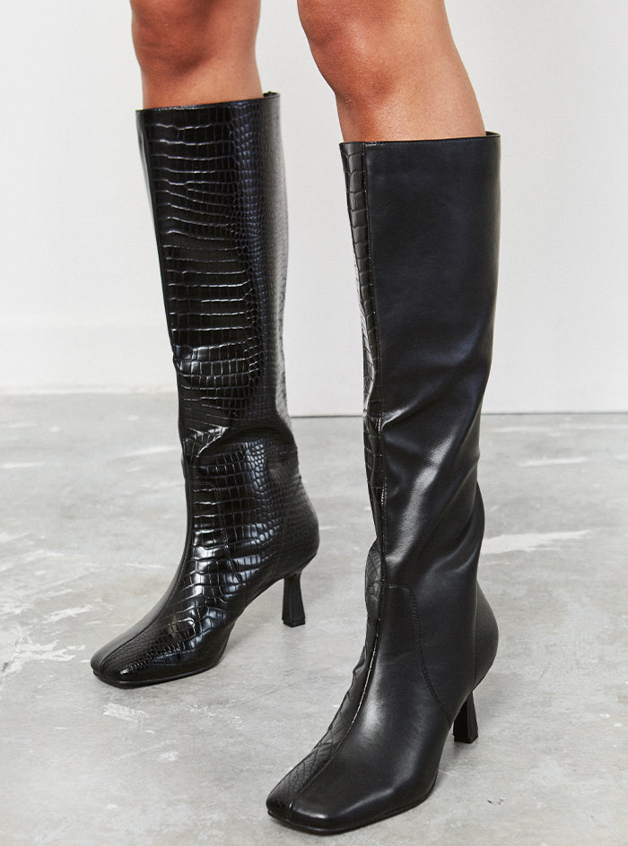 Beau Croc Knee High Boot Black