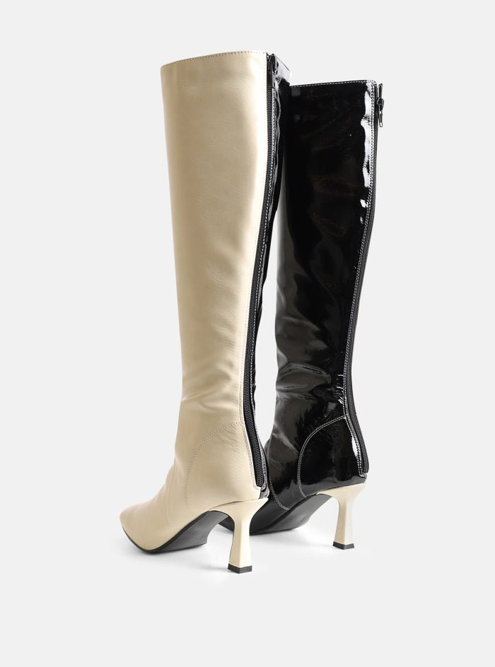 Beau Cream And Black Knee High Boot
