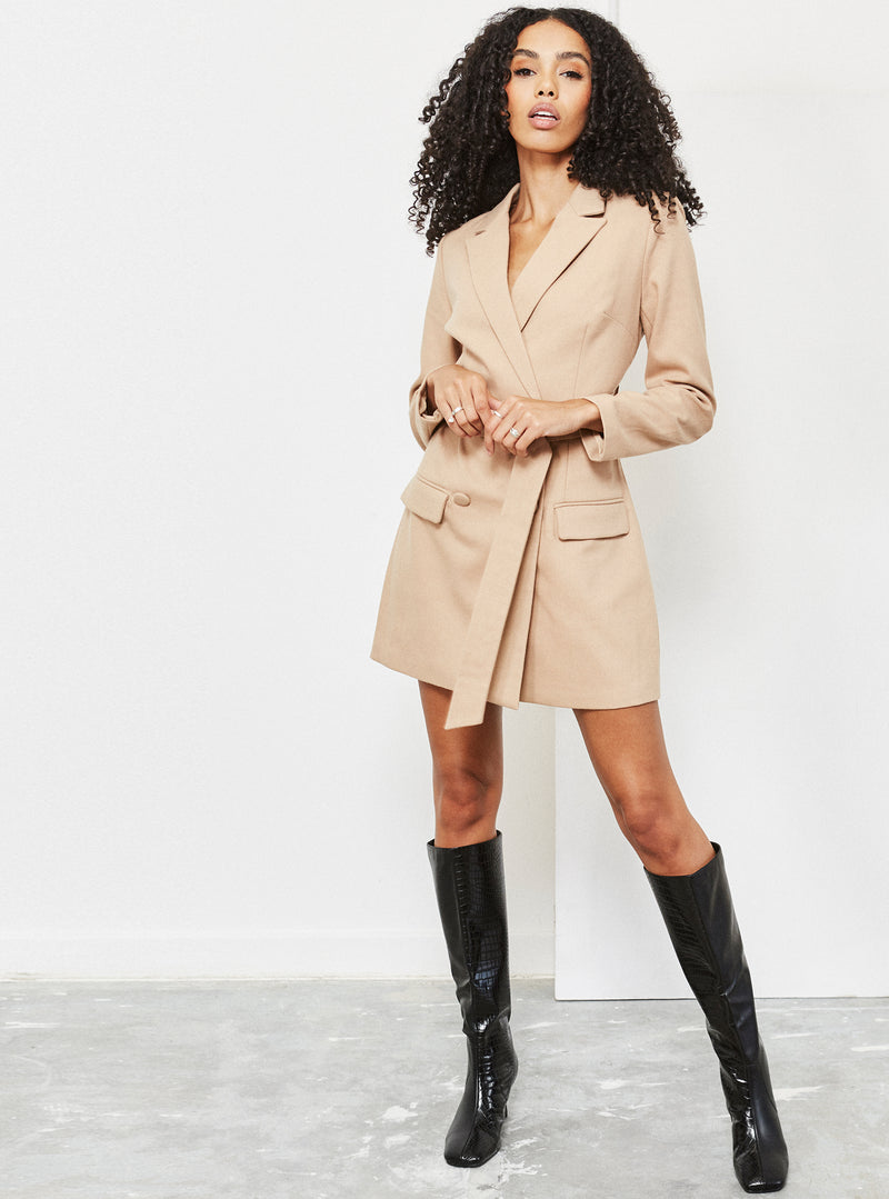 Bella Belted Blazer Dress Camel