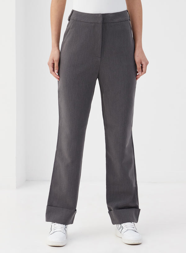 Blaise Turn Up Hem Pants Dark Grey