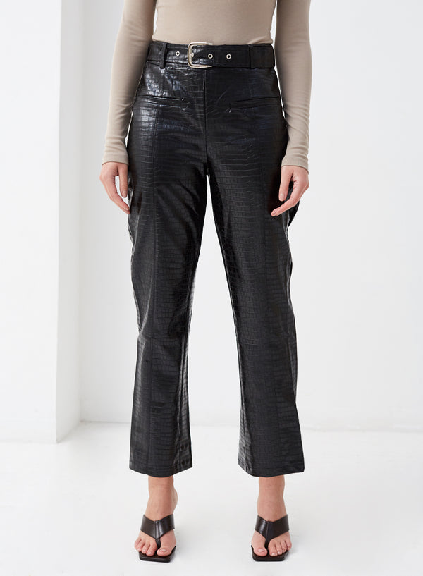 Brooklyn Vegan Leather Pants Black Croc