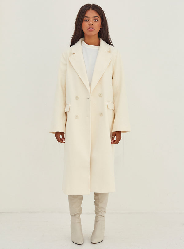 Camila Double Breasted Coat Cream Size