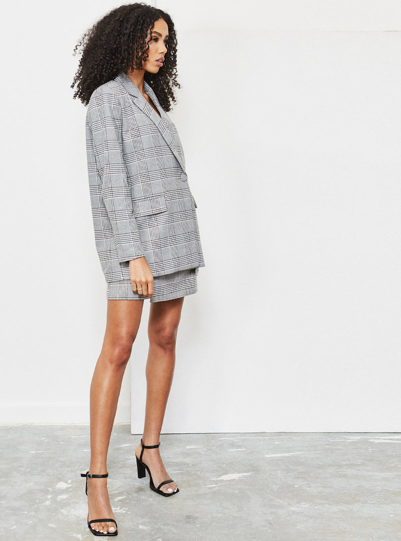 Camille Oversized Blazer Grey Check