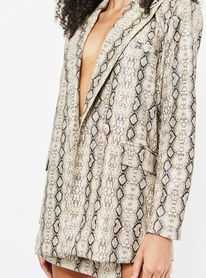 Camille Oversized Vegan Leather Blazer Snake