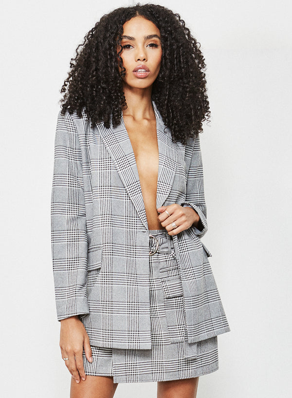 Camille Mini Skirt Grey Check