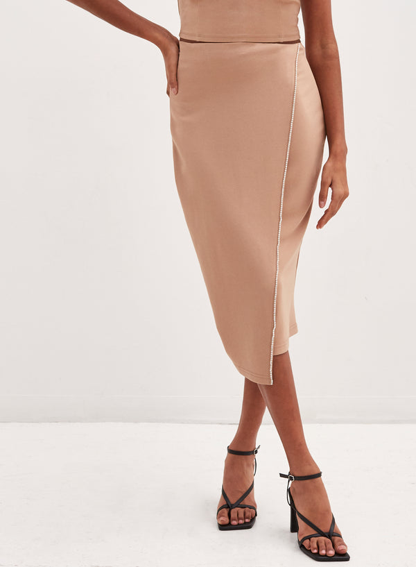 Carmen Diamante Midi Skirt Camel