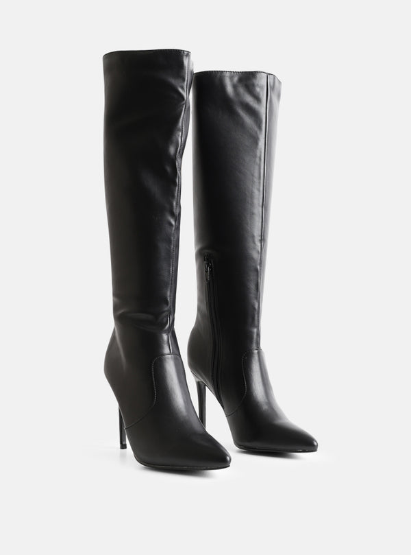 Cash Knee High Stiletto Boot Black