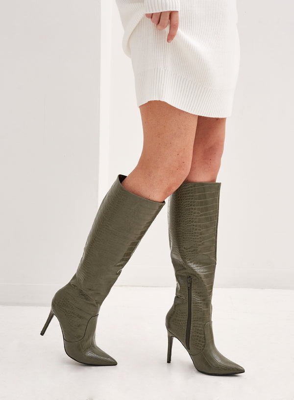 Cash Knee High Stiletto Boot Khaki Croc