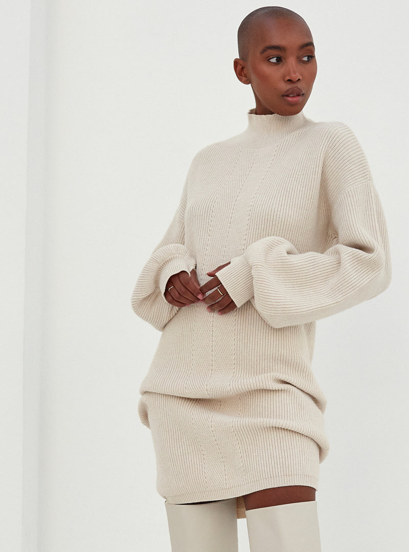 Catarina Back Detail Knitted Jumper Dress Nude