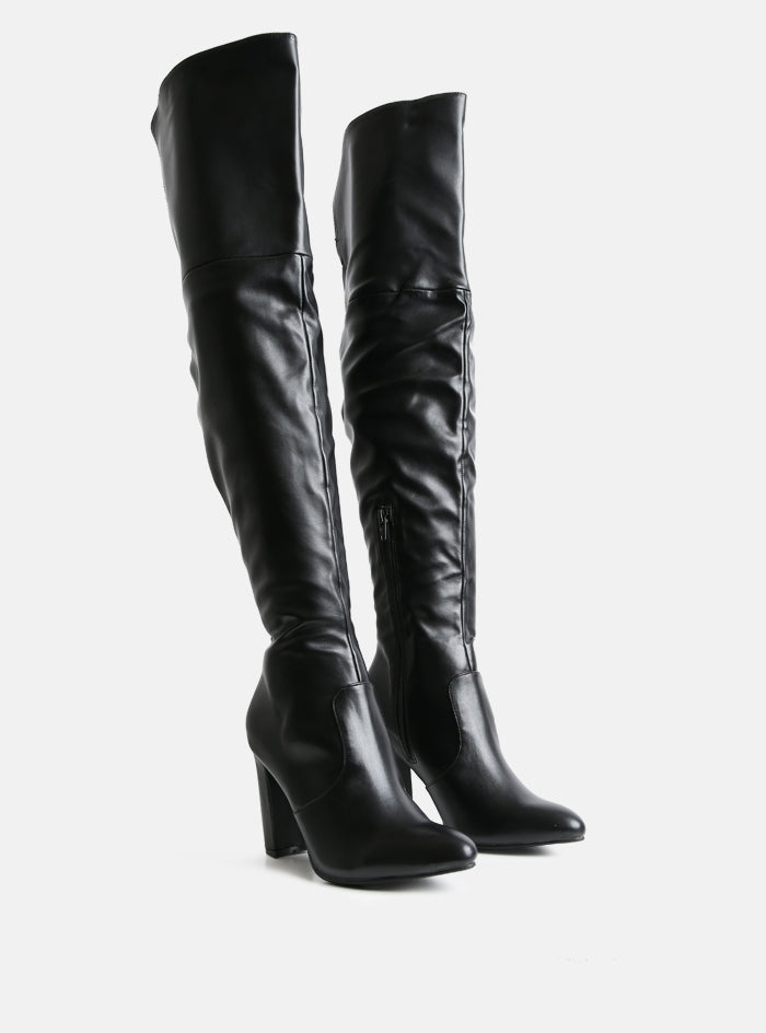 Clover Extra Long Over The Knee Boot Black Vegan Leather