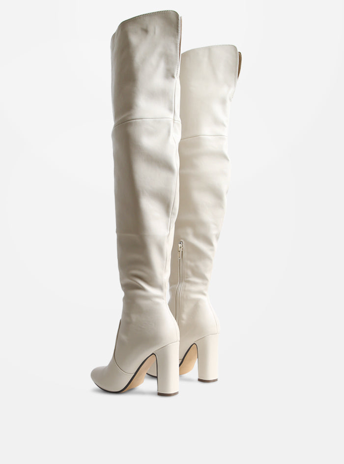 Clover Extra Long Over The Knee Boot Cream Vegan Leather