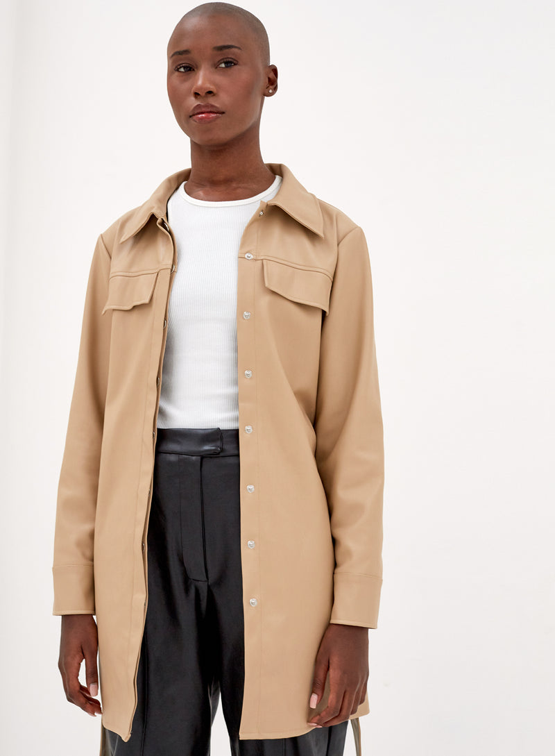 Cody Belted Vegan Leather Jacket Camel