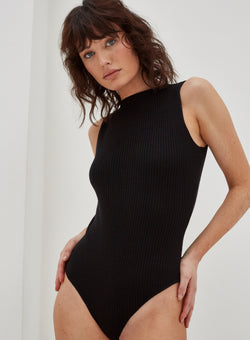 Coville Knitted Bodysuit Black