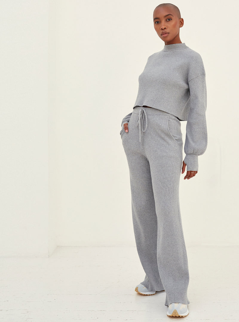Daisy Wide Leg Knitted Pants  Grey