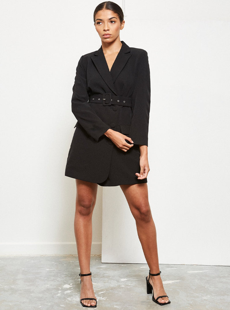 Dottie Belted Blazer Dress Black