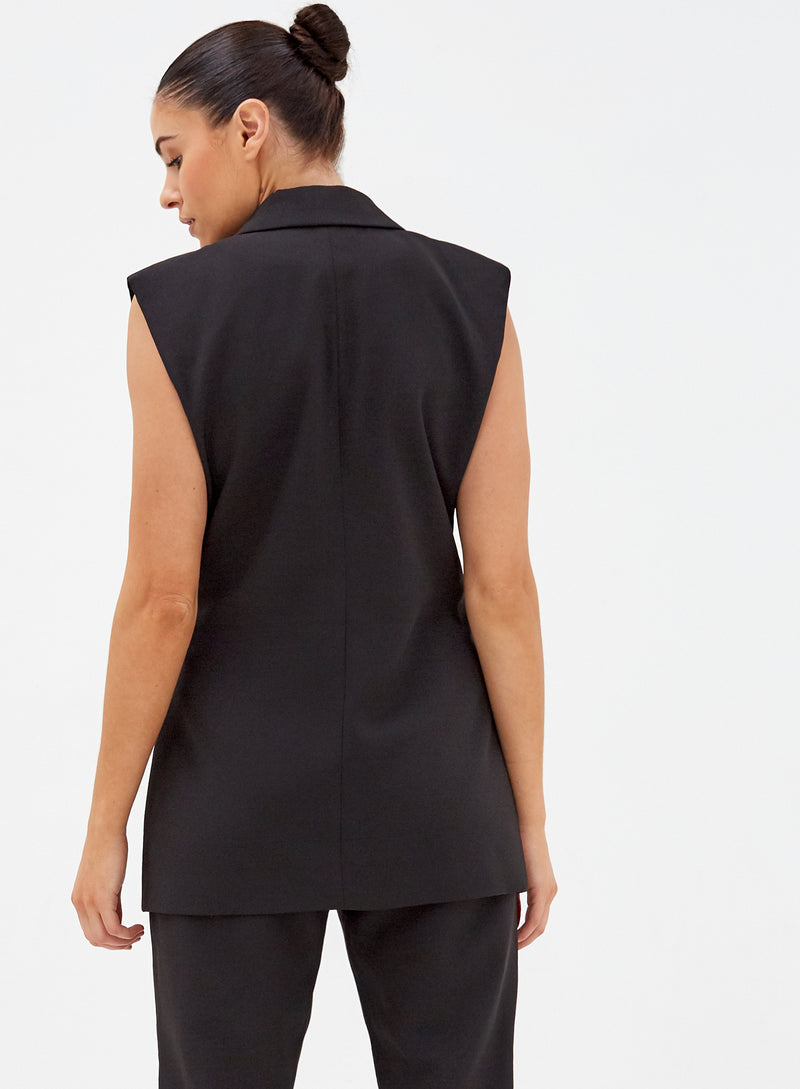 Duke Sleeveless Blazer Black
