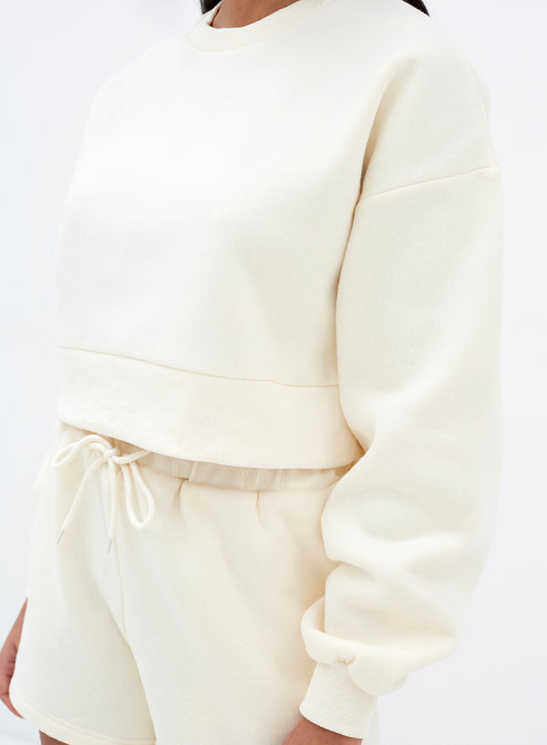 Eden Crop Sweatshirt Cream