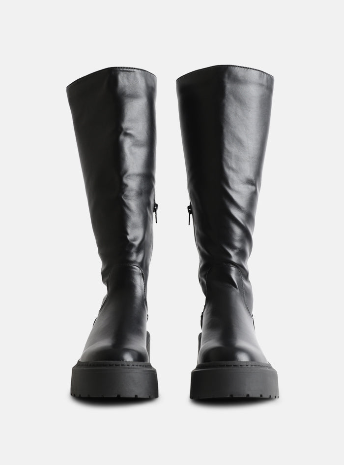Evie Chunky Sole Knee High Boot Black