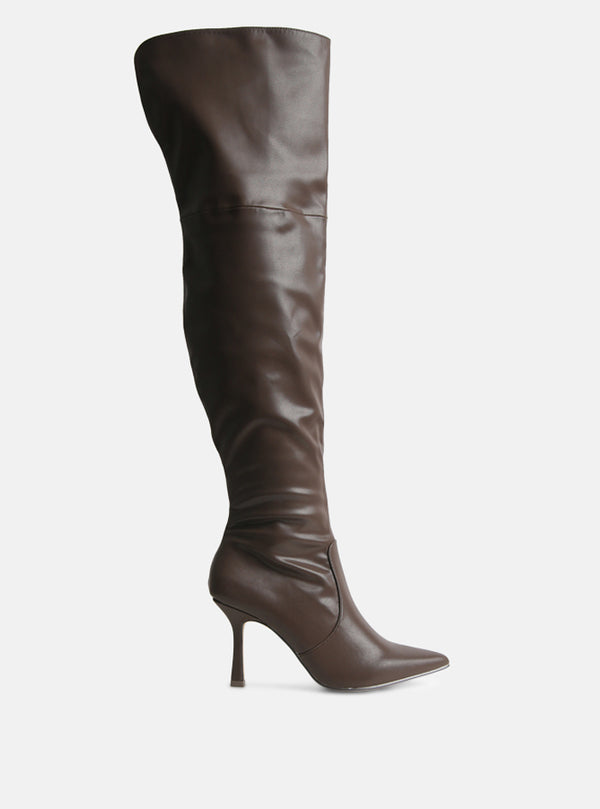 Fallon Over The Knee Long Boot Chocolate Vegan Leather
