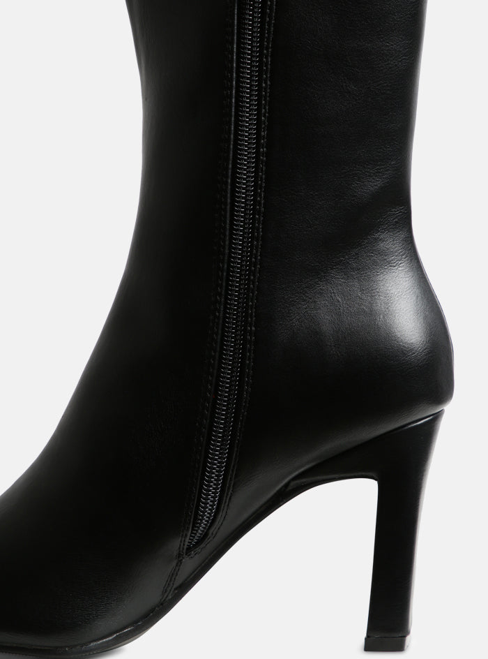 Gemini Square Toe Ankle Boot Black Vegan Leather