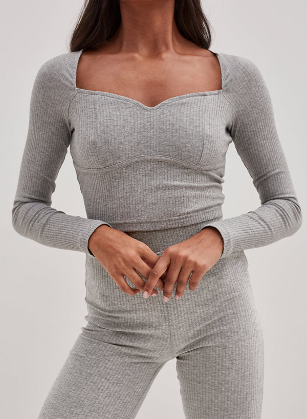 Ada Long Sleeve Crop Top Grey