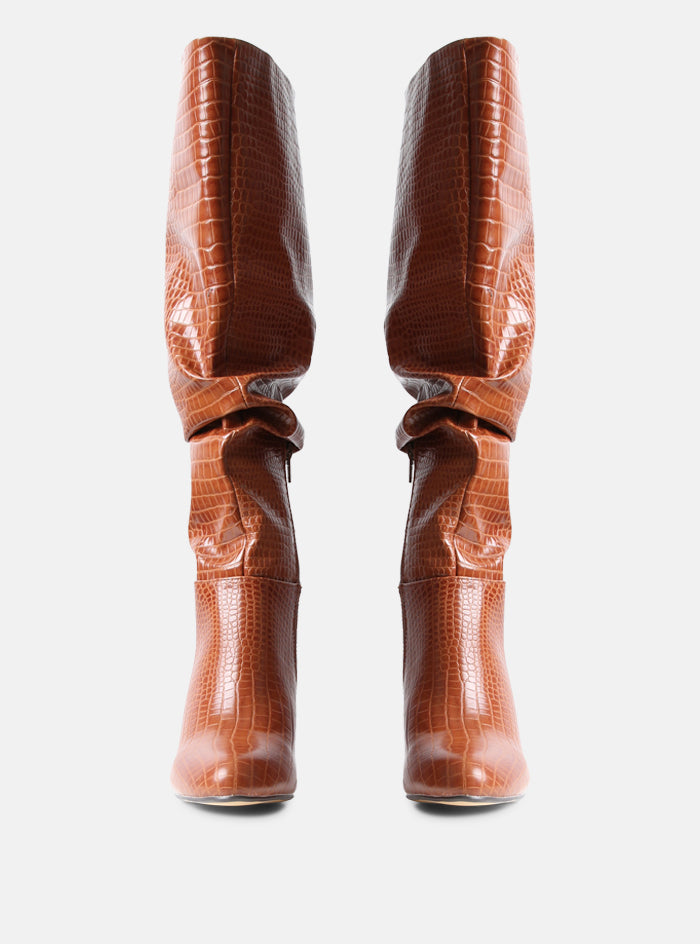 Hadley Knee High Slouchy Boot Tan Croc