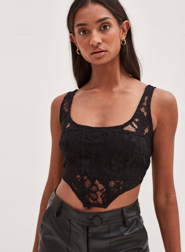 Heaven Lace Corset Crop Top Black