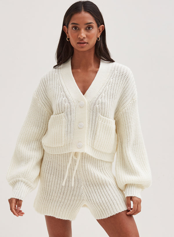 Henry Chunky Knitted Cardigan Cream